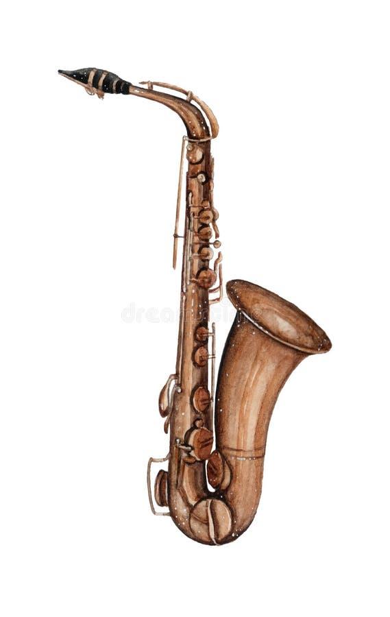 Illistration del saxofón del instrumento musical de la acuarela aislado en el fondo blanco stock de ilustración