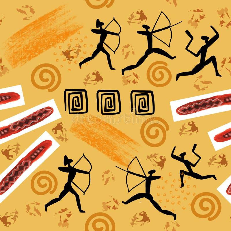Illistration der Felsenmalerei Höhlen Sie Zeichnungen Mann und der ursprünglichen nahtloses Muster Steinzeitaltermalereien der Ti lizenzfreie abbildung