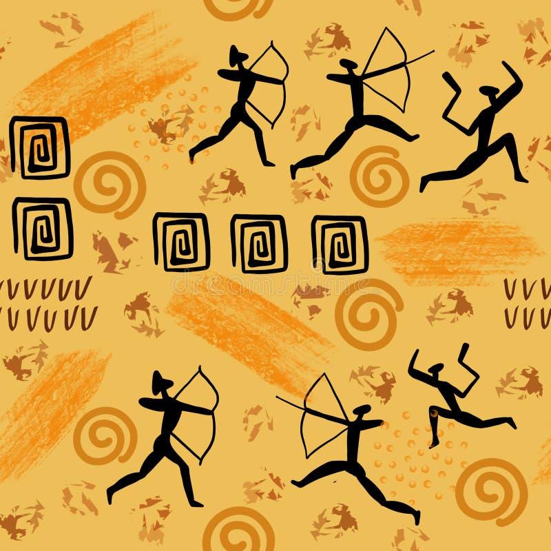 Illistration rockowy obraz Jama rysunki mężczyzna i zwierzę antropologii ery kamienia łupanego pierwotnych obrazów bezszwowy wzór ilustracja wektor