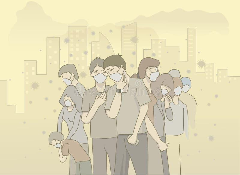illistration van het masker van de mensenslijtage vermijdt luchtvervuiling stock illustratie