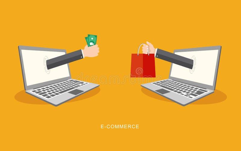 Illiustration för internetbetalninglägenhet vektor illustrationer