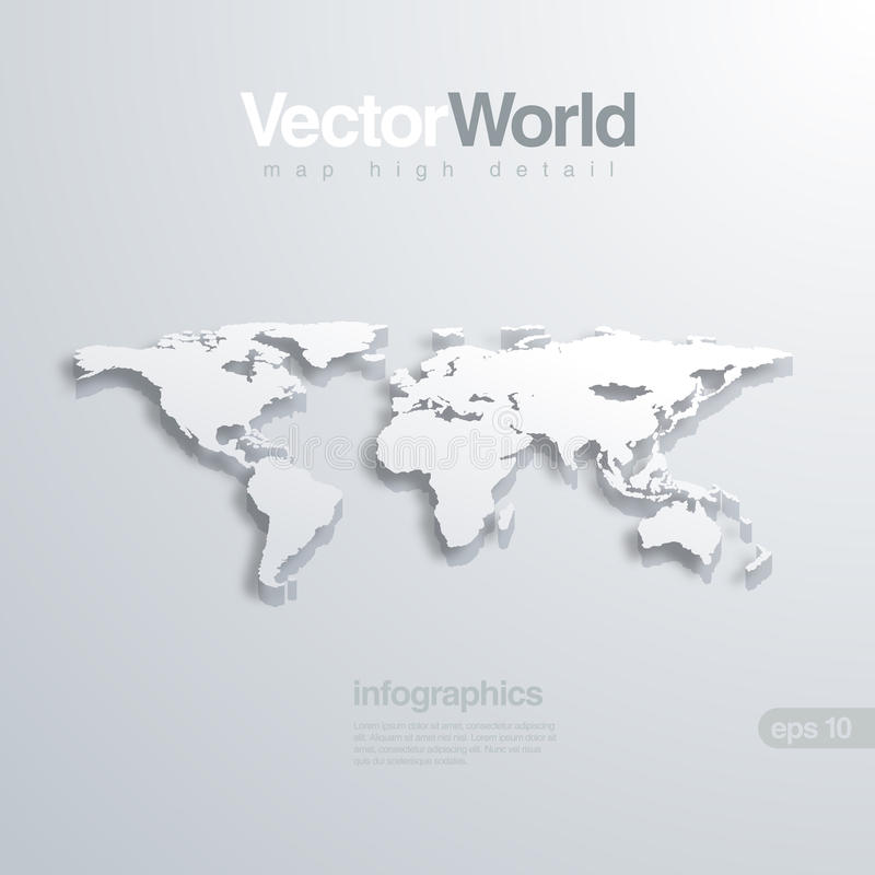 Illlustraion de vecteur de la carte 3D du monde. Utile pour l'infog illustration stock