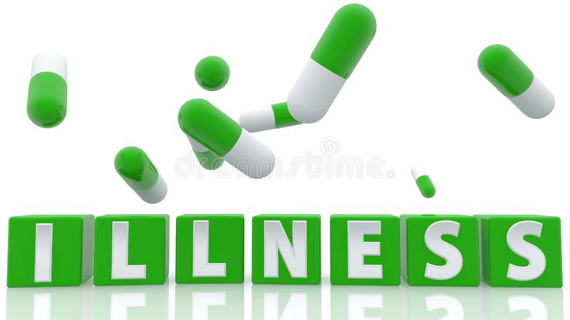 Illness concept on green cubes with pills on white royalty free illustration