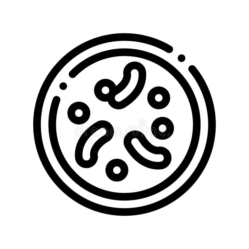 Illness Disease Bacteria Vector Thin Line Icon. Unhealthy Bacteria Parasite In Flask Linear Pictogram. Chemical Microbe Type Infection Microorganism vector illustration