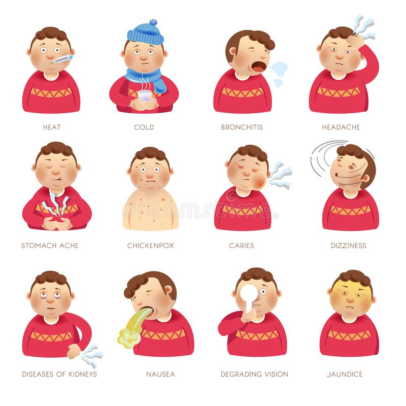 Illness disease people symptoms vector flat isolated icons heat, cold and ache vector illustration