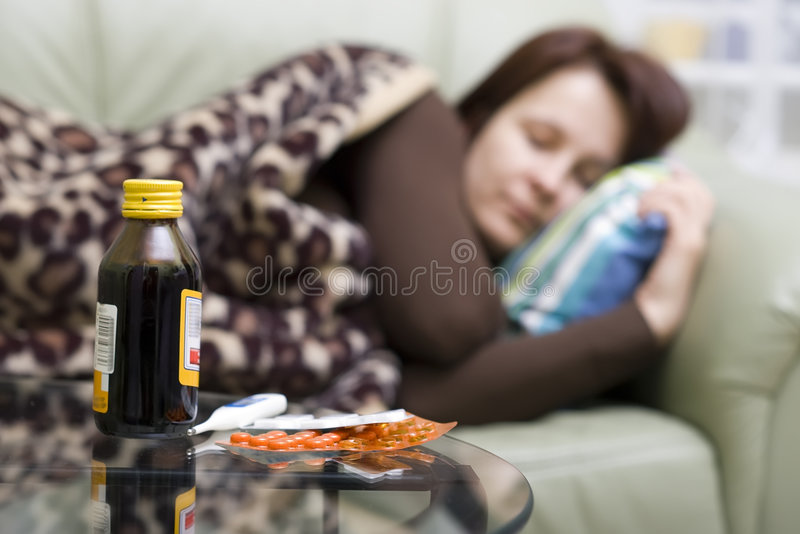 Illness at home. stock images