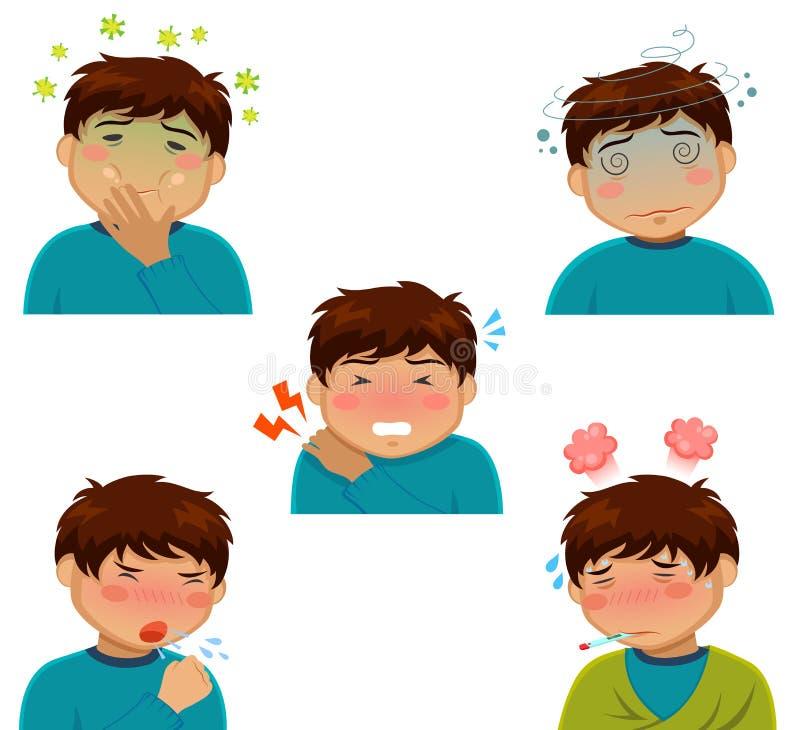 Illness symptoms. Cartoon person having influenza symptoms royalty free illustration