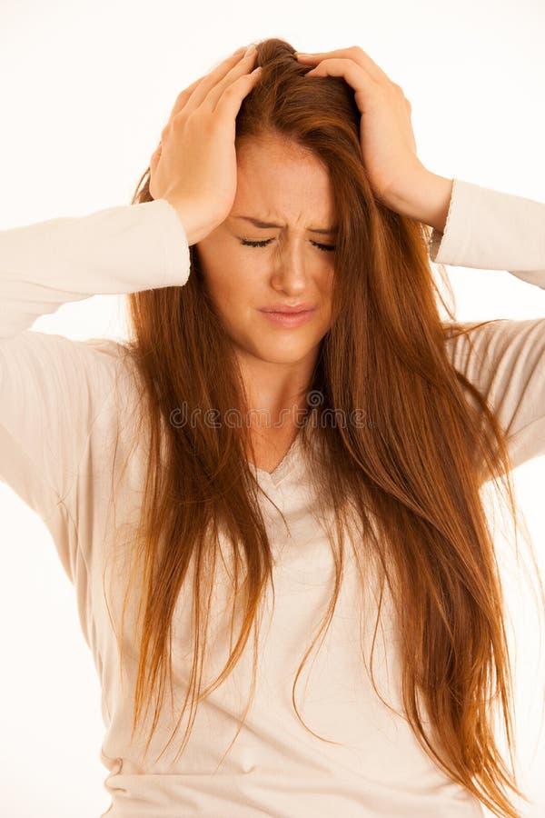 Illness woman having headache and feeling unweal stock images