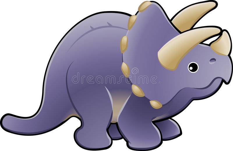 Illu bonito do dinossauro do triceratops ilustração royalty free