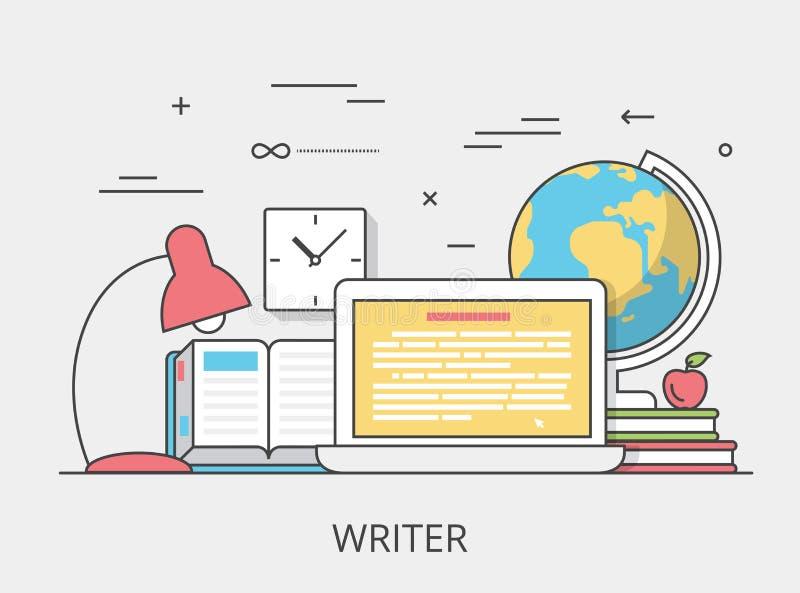 Illu copywriting plano linear del vector del servicio del escritor ilustración del vector