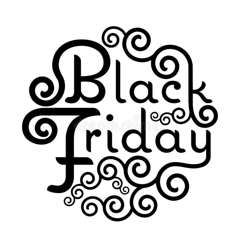 Illu de lettrage de calligraphie de vintage des textes de vecteur de vente de Black Friday illustration de vecteur