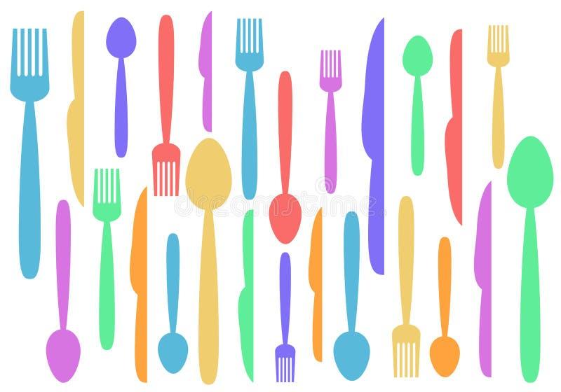 Illu horizontal d'abrégé sur cuillère de couteau de fourchette et courant coloré de vecteur illustration de vecteur