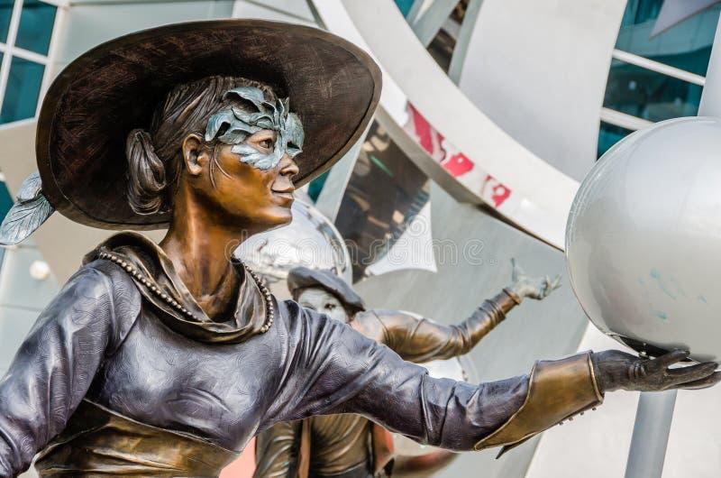 Illumina Art Sculptures, artista da mina, palhaço Pantomime imagem de stock