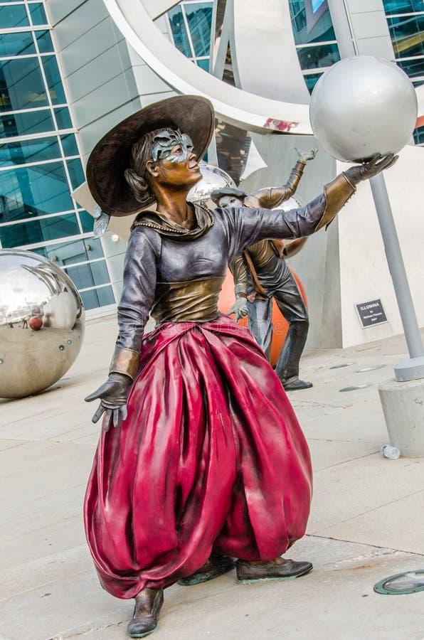 Illumina Art Sculptures, mimica o artista, palhaço Pantomime imagens de stock