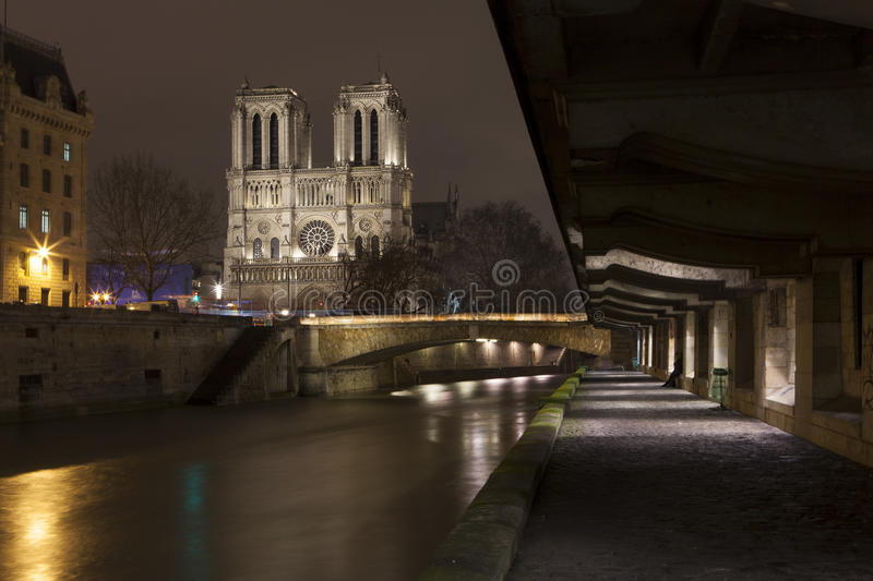 Download Illuminate Notre-Dame From Paris With Sena In The Night Stock Photo - Image of monumental, basilica: 28657746