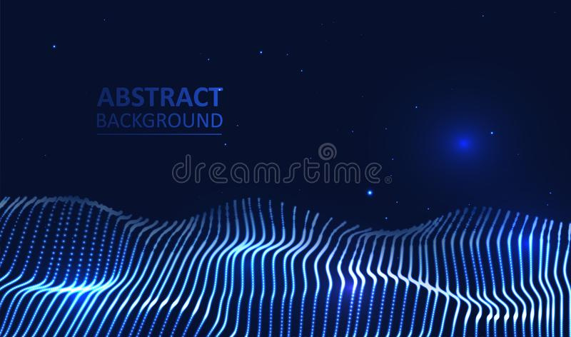 Illuminated abstract digital wave stock illustration