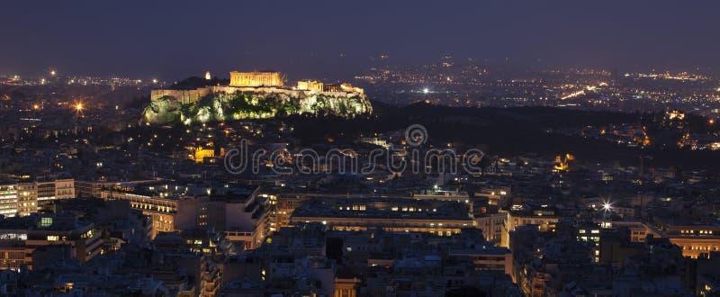 Illuminated Acropolis in Athens stock image