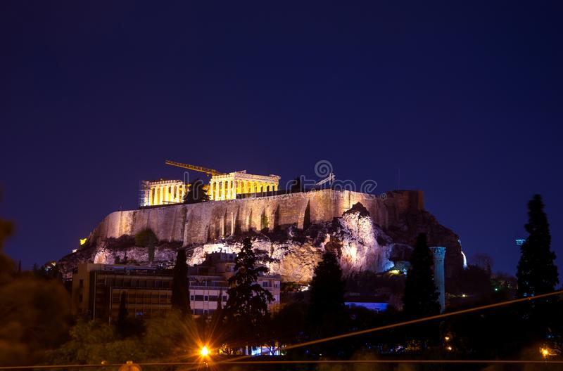 Illuminated Acropolis with Parthenon at night, Greece. royalty free stock images