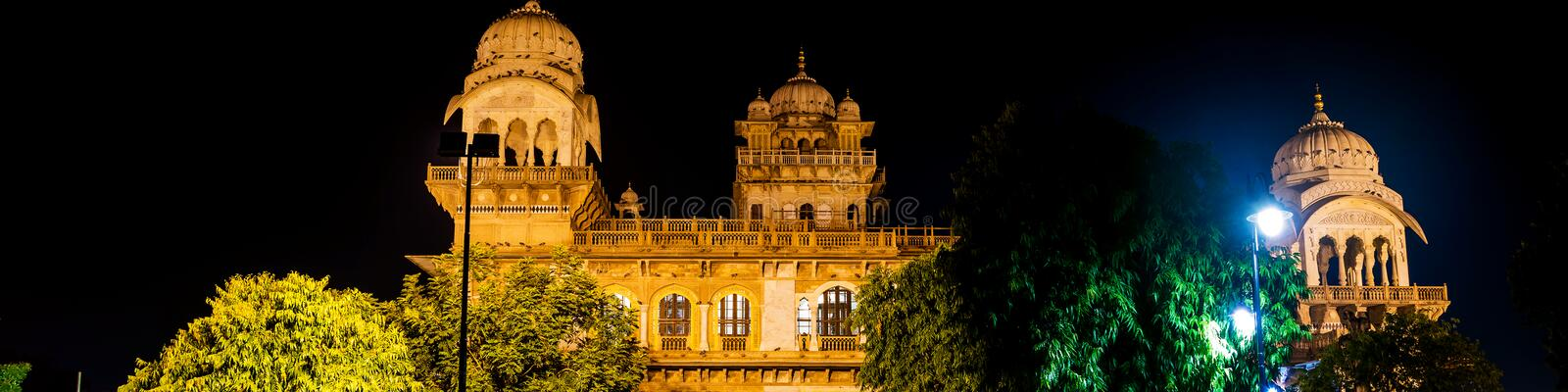 Illuminated Albert Hall Museum in Jaipur, India stock photo