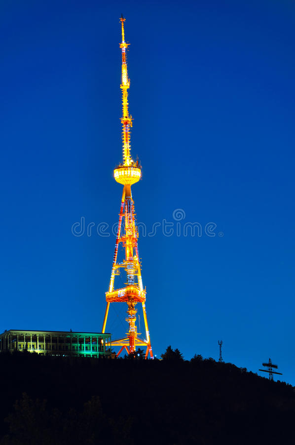 Download Illuminated Antenna, Tibilisi Georgia Royalty Free Stock Photos - Image: 27015018