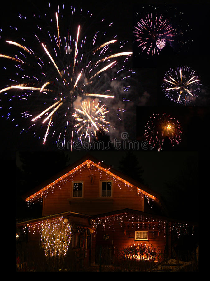 Download Illuminated Barn And Fireworks At New Years Eve Stock Photo - Image: 36661382