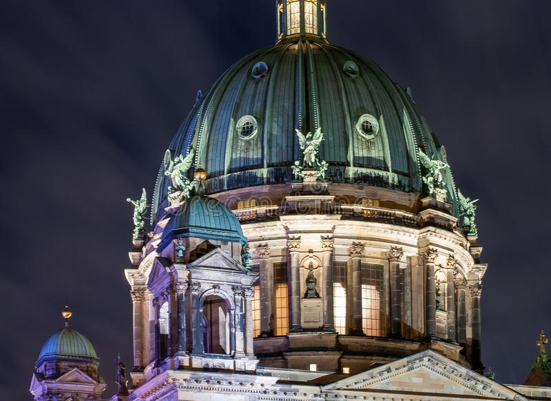 Illuminated Berliner Dome by night royalty free stock photography