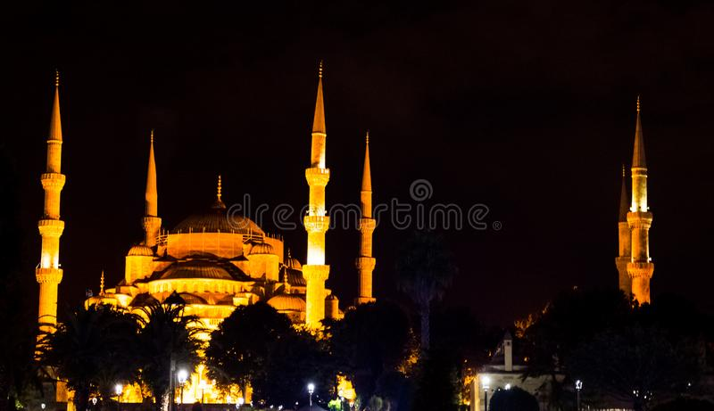 The illuminated Blue mosque during the night. In Istanbul royalty free stock image