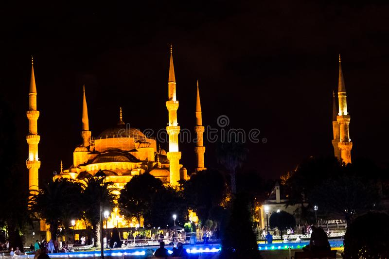The illuminated Blue mosque during the night. In Istanbul stock photo