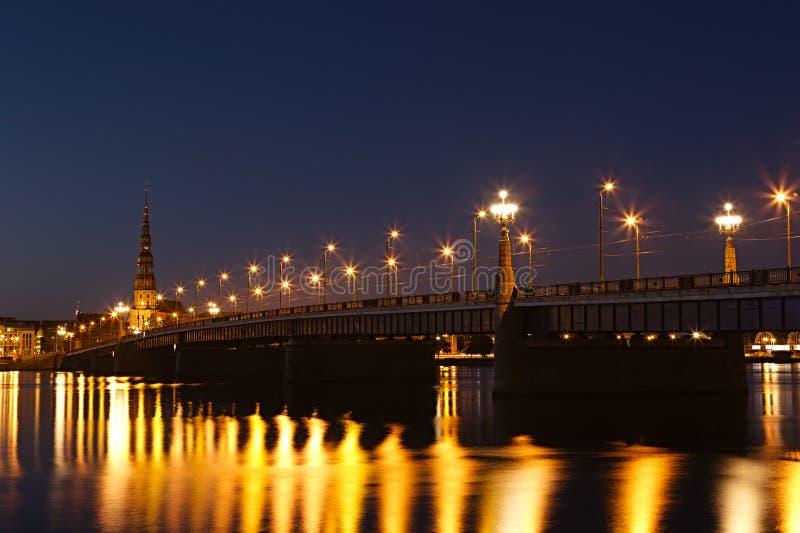 Download Illuminated bridge in Riga stock photo. Image of tower - 26520084