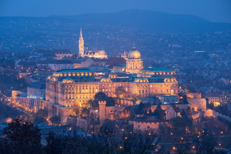 Buda Castle at Night, Budapest, Hungary. Illuminated Buda Castle in Budapest on the hill of the same name at night, Hungary, Europe. It`s taken from the Gellé royalty free stock photo