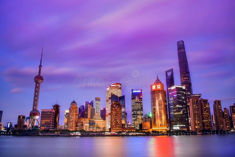 Illuminated Buildings at Dusk stock photography