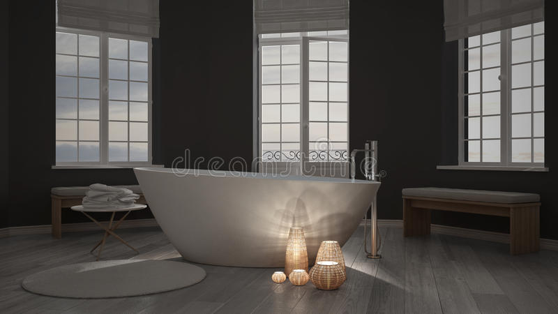 Illuminated candles inside a minimalist bathroom, spa zen interior design stock images