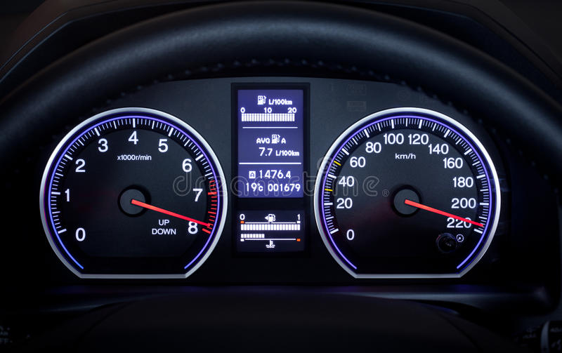 Illuminated car dashboard. stock image. Image of ...