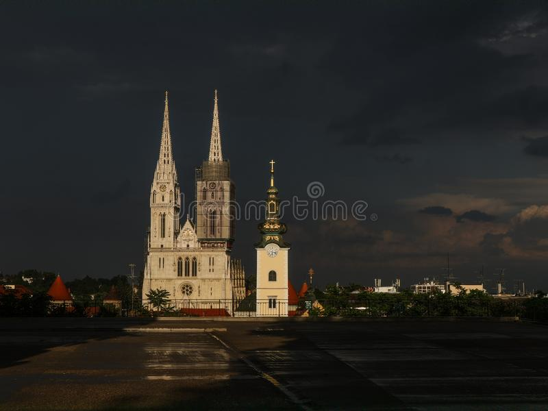 Illuminated cathedral in Zagreb over dark background royalty free stock image