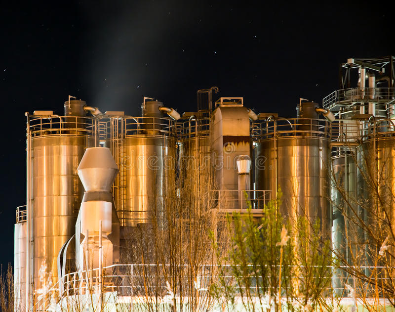 Illuminated Chemical Plant at night royalty free stock photo