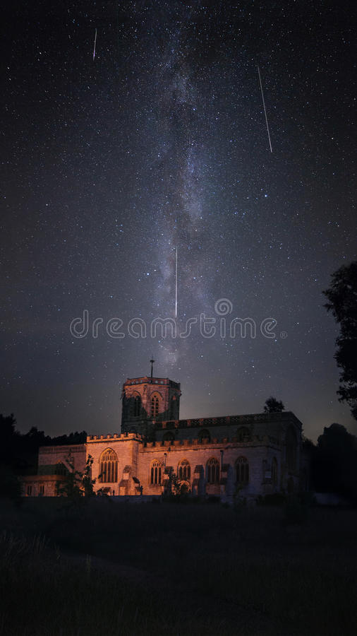 Free Illuminated Church With Milky Way Night Sky During Perseid Meteor Shower Royalty Free Stock Photography - 88939627
