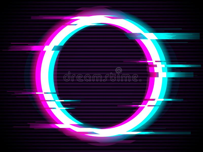 An illuminated circle with glitch effect vector illustration