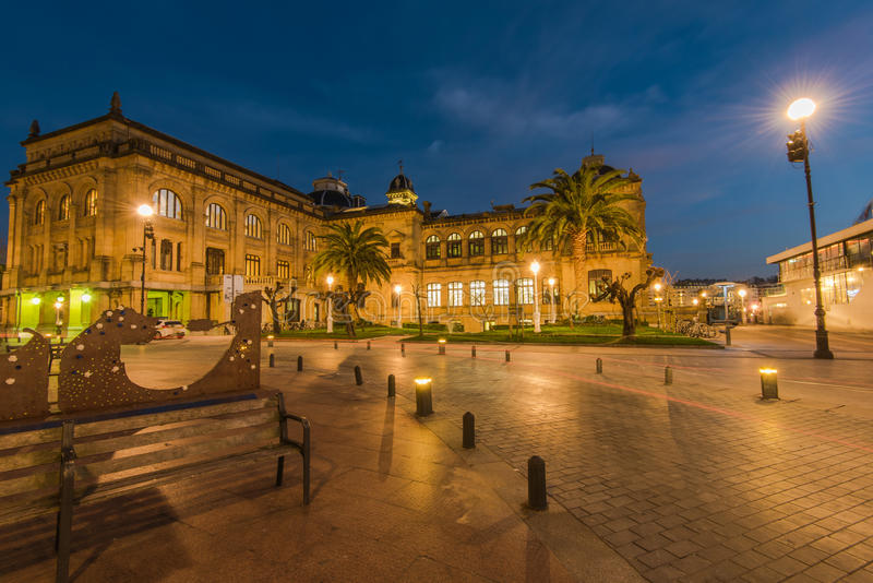 Illuminated City Hall in San Sebastian at twilight. Spain royalty free stock image