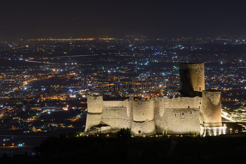 Illuminated city at night and famous building. Panoramic view ov. Er beautiful Italian city at nighttime when the buildings are illuminated royalty free stock images