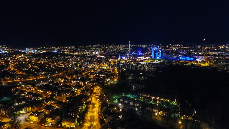 Illuminated city skyline at night stock photography