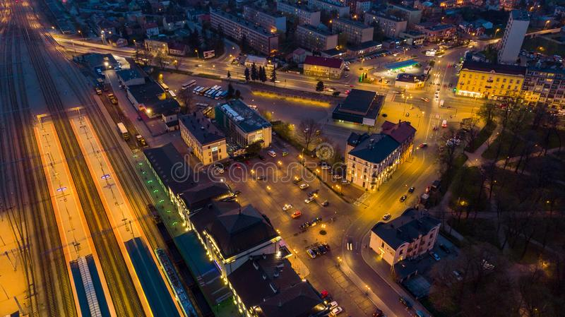 Illuminated city of Tarnow , Poland,aerial view. Blue building life cityscape colorful downtown drone dusk europe evening above historic landmark landscape royalty free stock image