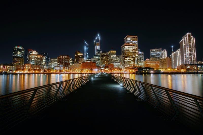 Illuminated Cityscape at Night royalty free stock photos