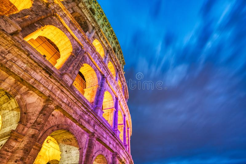 Illuminated Colosseum at Dusk, Rome. Italy royalty free stock image