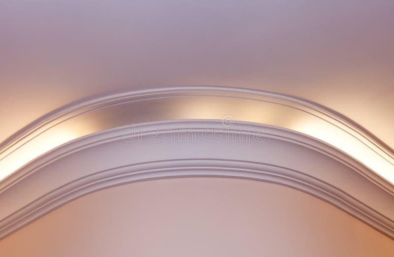 Illuminated cornice, bright interior background. Illuminated cornice, bright and clear interior background royalty free stock images