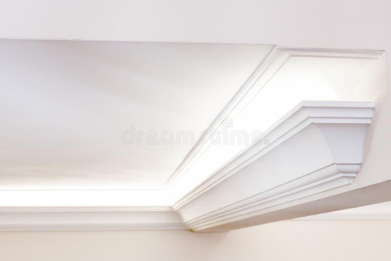 Illuminated cornice, bright interior background. Illuminated cornice, bright and clear interior background royalty free stock photos
