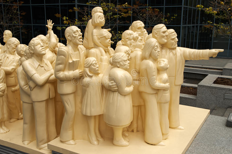 Illuminated crowd sculpture. stock photography