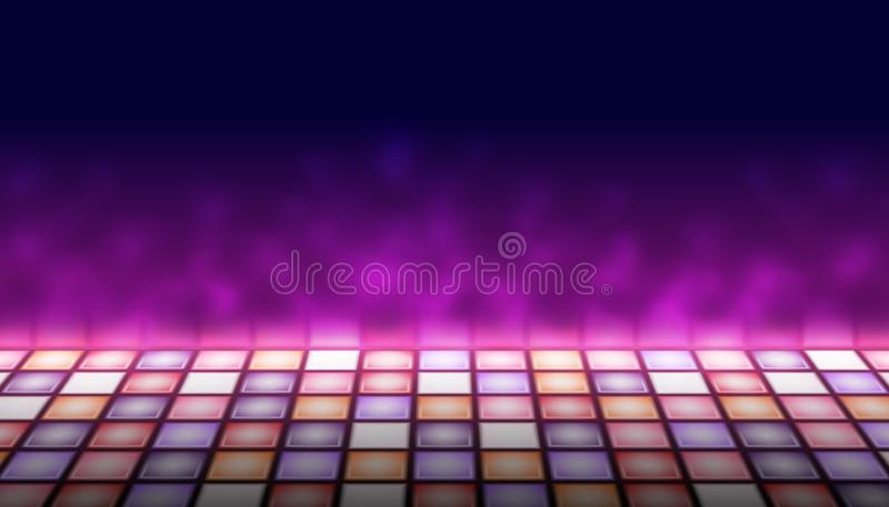 Illuminated dance floor a background vector illustration, 80s retro style disco empty dance floor royalty free illustration