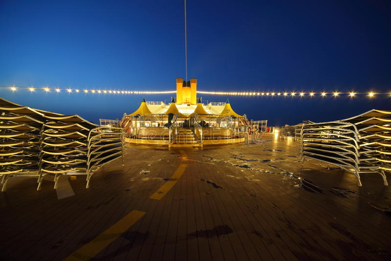 Download Illuminated Deck Of Cruise Ship At Evening. Stock Photo - Image: 16331798