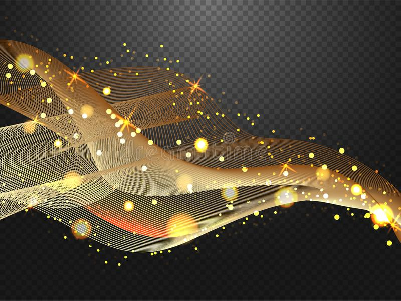 Illuminated digital wave of glowing particles motion lighting effect composition. Illuminated digital wave of glowing particles motion lighting effect royalty free illustration