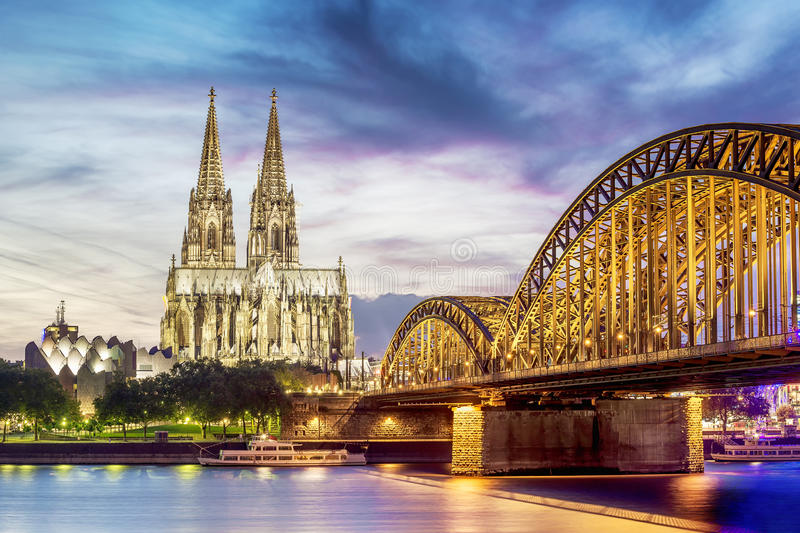Illuminated Dom in Cologne stock image